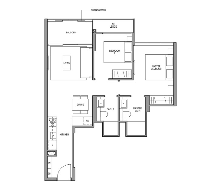 2 Bedroom Floor Plan at Martin Modern