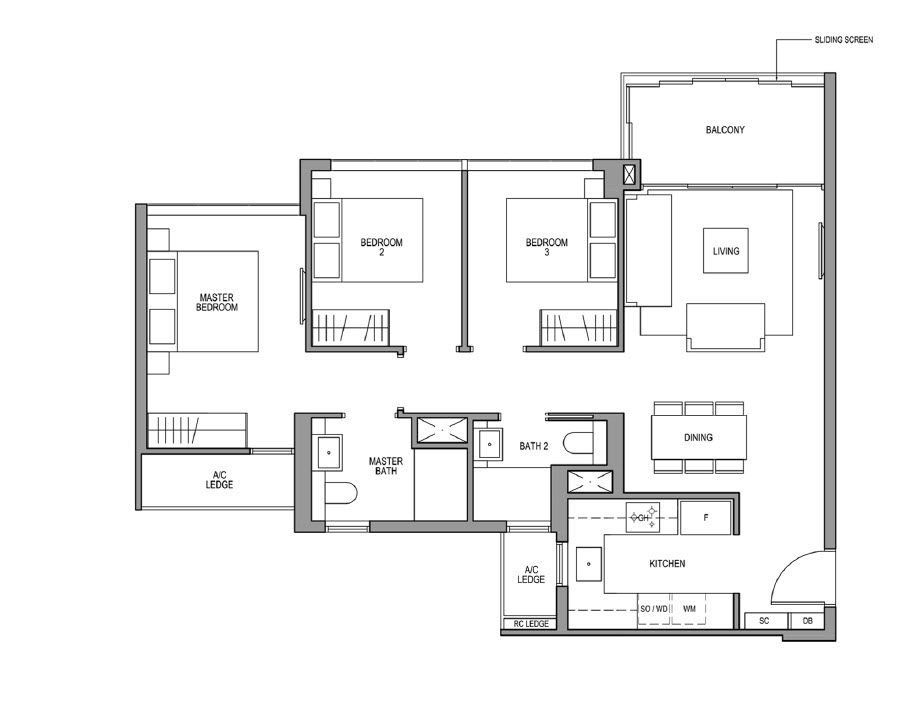 3 Bedroom Floor Plan Martin Modern