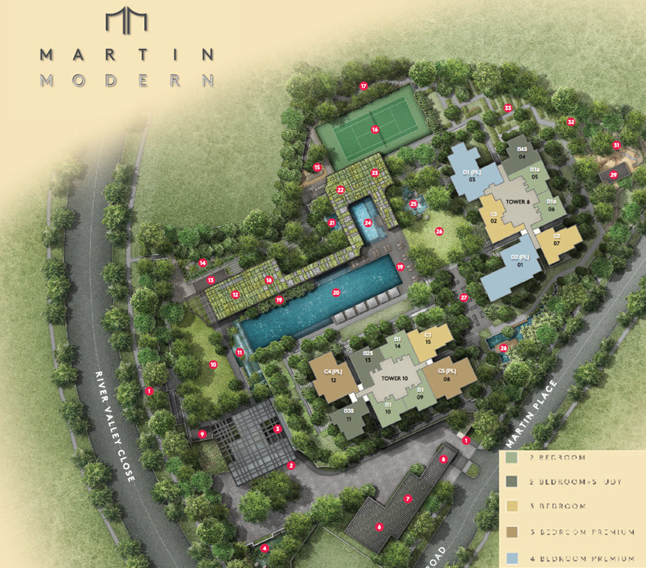 Martin Modern Site Plan with Facilities