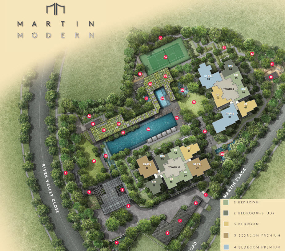Martin modern condo by guocoland great world city mrt for Modern site plan